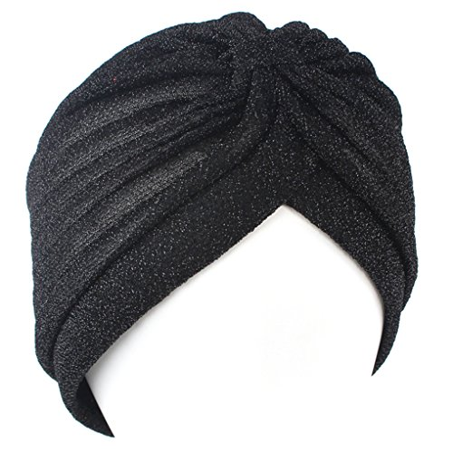 qhgstore-femmes-twist-plisse-ruffle-chemo-pre-tied-turban-cap-cheveux-envelopper-cover-up-noir