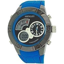 Henley digitaler Chronograph und Wecker LCD, blaues Gummiarmband HDG025.6