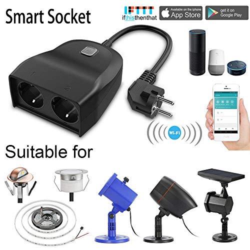 Outdoor Smart Stecker, Outdoor Wi-Fi Steckdose mit 2 Steckdosen, kompatibel mit Alexa und Google Home, drahtlose Fernbedienung/Timer von Smartphone, Wasserdicht für Innen-und Außenbereich -