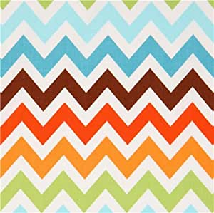 Tissu Robert Kaufman zigzags chevrons marrons et bleus Remix