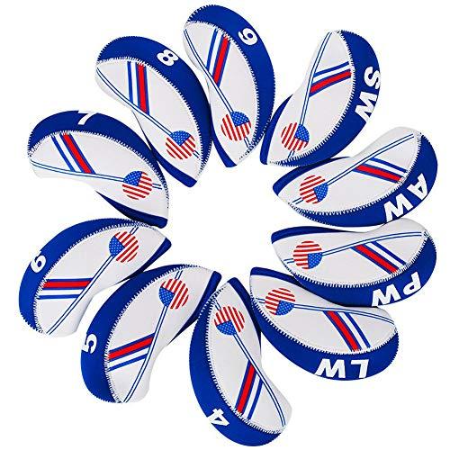 HIFROM TM Golf uns Flagge Neopren Golf Club Head Cover Keil Eisen Schutz Schlägerhaube für die meisten Marken weiß & blau -