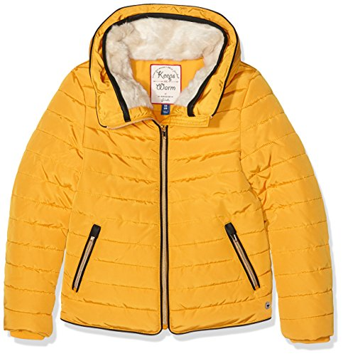 TOM TAILOR Kids jacket with plush collar, Giacca Bambina, Giallo (golden shine yellow), 128