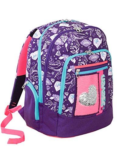Zaino scuola advanced SEVEN - MEXI GIRL Viola - PATCH con paillettes reversibili - 30 LT - inserti rifrangenti