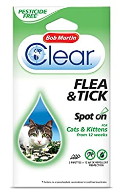 Bob Martin Clear 12 Weeks Repellent Protection Flea and Tick Spot for Cats from Bob Martin