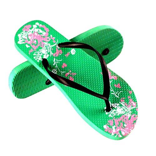 Dorame Sandalias De Las Mujeres, Zapatos De Verano Diamantes De Imitación De Las Mujeres Sandalias Bajo Informal De Cuentas Estilo Bohemio Mar Vacaciones - Cool Green