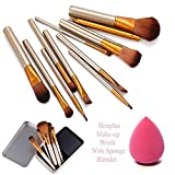 #1: SKINPLUS Professional Cosmetics Makeup Brush In Durable Box, Set of 12 With Sponge Puff