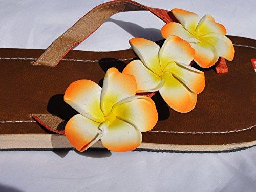Flip Sandale Hibiskus Zehentrenner Zehenpantolette Orange