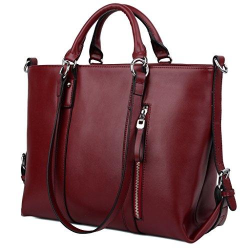 Yaluxe Donna pelle Laptop Lavoro Borse a spalla Shopping Borse a tracolla rosso