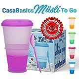 Muesli to Go -Tazza per Cereali con Scomparto di Raffreddamento per Latte/Yogurt - Cucchiaio Incluso - Colore: Viola