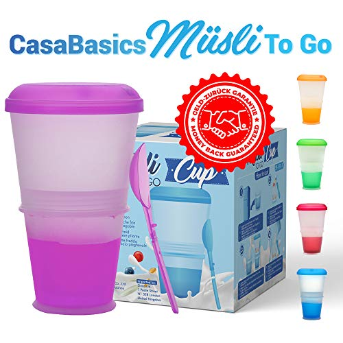 Müsli To Go Becher mit Milch-Kühlfach & Löffel, Müslibecher, Joghurtbehälter, Thermobecher, Müslidose - Lila