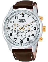 Pulsar Uhren Sport PT3259X1 - Reloj cronógrafo de cuarzo para hombre, correa de cuero color marrón (cronómetro)
