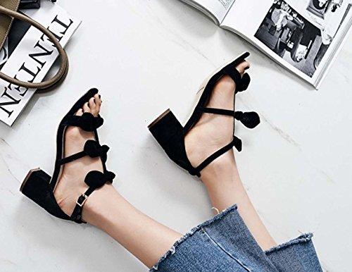 Arco a punta del tallone sandalo Sweety Roman Heels Mid Pelle Sheep Skin T-Strap Open Toe Donne Black