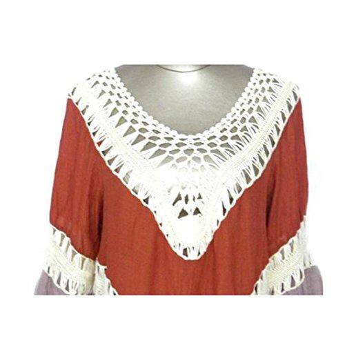 JXLOULAN Femmes Bohemia Lace Crochet creux Cover Up Maillots de bain Robe de plage Kaki