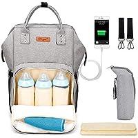 Wirezoll Wickeltasche Multifunktionale Baby Wickelrucksack mit Großem Volumen für Unterwegs inkl. USB-Ladeanschluss/Tragbarer Flaschen-Tasche/Wickelunterlage / Aufhänge-Riemen (Grau)