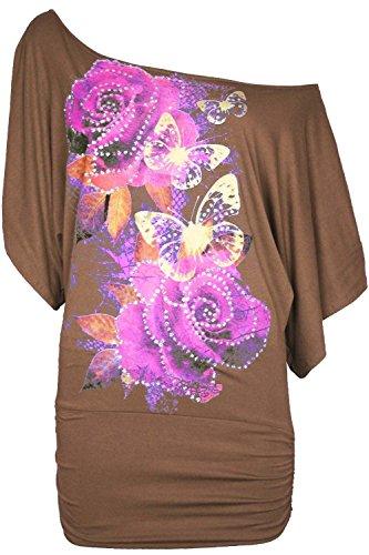 Frauen Floral Rosen Schmetterling Pailletten emailliert Profiratsche/Oversize Schulter Entdeckung Bardot Griff Fledermaus Shirt oben Moka