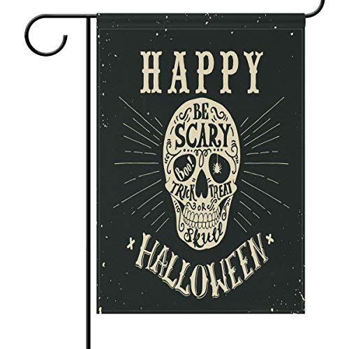 Happy Halloween Totenkopf Garten Flagge Haus Banner 30,5 x 45,7 cm schwarz gruselig Boo Trick or Treat Kleine Mini Deko doppelseitig Willkommen Hofflaggen für Urlaub Hochzeit Party Zuhause Outdoor Dekoration, ()