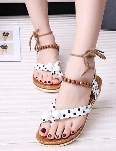 UWSZZ IL Sandali eleganti comfort Scarpe Donna-Sandali-Casual-Aperta-Piatto-Finta pelle-Nero / Rosso / Bianco White