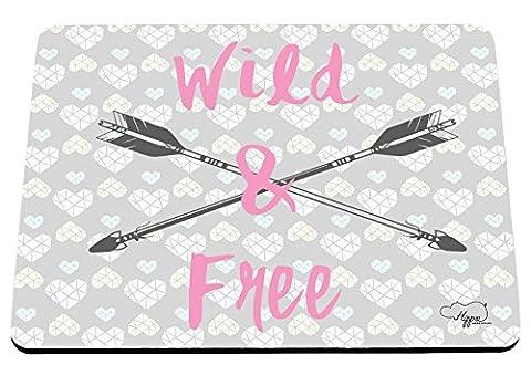 Hippowarehouse sauvage et de l'amour Cœur Motif imprimé Tapis de souris accessoire de base en caoutchouc Noir 240mm x 190mm x 60mm, rose, taille unique