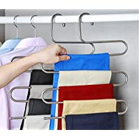 Beddingleer 2pcs Pants Hangers S-type Stainless Steel Trousers Rack 5 layers Multi-Purpose Closet Hangers Magic Space Saver Storage Rack for Clothes Towel Scarf Trousers Tie (2PCS)
