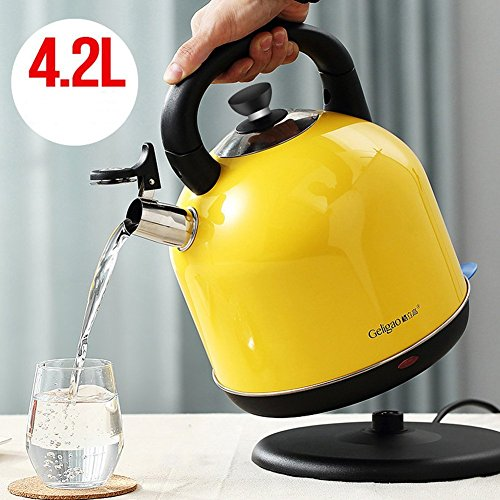 BCQ Electric Kettle Food Grade 304 Stainless Steel Lemon Yellow 4.2L Large Capacity 23 * 31Cm Electric Kettles