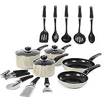 Morphy Richards Equip 5 Piece Pan Set with 9 Piece Tool Set - Cream