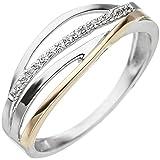 Dreambase Damen-Ring Weißgold mit Gelbgold kombiniert 8 Karat (333) Weißgold 17 Zirkonia 50 (15.9)