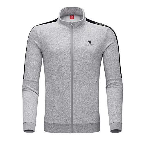 CAMEL CROWN Herren Trainingsjacke Übergangsjacke Sweatjacke Sportjacke Strick Jacke für Klassische Mode Sportliche Freizeit Sweatshirt