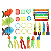 Funny Kids Swimming Pool Diving Game Toys Underwater Diving Throwing Toys Children Underwater Dive Toy Seaweed Diving Ring Shark Torpedo Rocket Octopuses Sticks Under Water Treasures Gift Set (30Pcs)