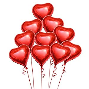 luoem 8st rotes herz folie ballons helium luft herz ballon. Black Bedroom Furniture Sets. Home Design Ideas