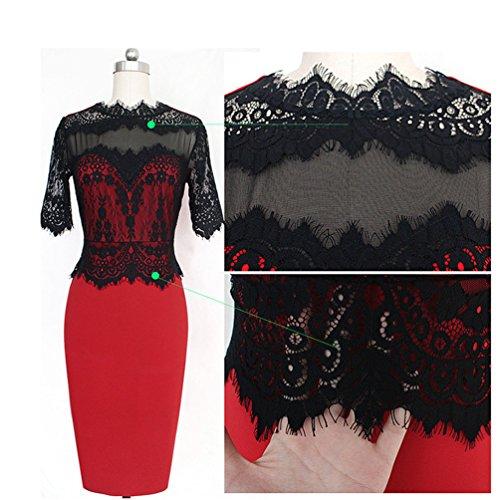 WanYang In Pizzo Crochet Donne Floreali Sundress Delle Ragazze Vestito Sottile Dalla Matita Rosso