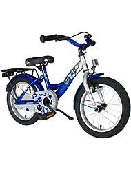 BIKESTAR® 40.6cm (16 pulgada) Bicicleta para un paseo tranquilo y seguro para niños de 4 años ★ Edición Clásico ★ Plateado & Azul