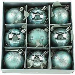 Set di Nove Blu Albero Di Natale Bagattelle (6cm)