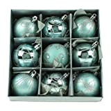 Set of Nine Blue Christmas Tree Baubles (6cm) by Christmas Direct
