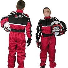 Qtech Mono completo de una pieza para niños - Para karting / go kart / motocross / dirt bike - Rojo - S