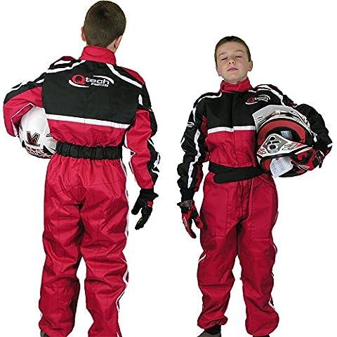 Qtech Mono completo de una pieza para niños - Para karting / go kart / motocross / dirt bike - Rojo - M