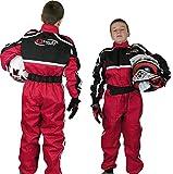 Qtech - Combinaison intégrale de moto-cross/karting/moto - enfant - Rouge - S