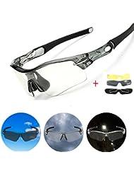 Fahrradbrille,CAMTOA UV Polarisiert Sonnenbrille farbige Radbrille mit 3 wechselbaren Gläser,Damen Herren Sport Brille Schutzbrille für Radfahren Mountainbike Laufen Angeln Golf Outdoor