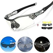 Gafas de Sol Polarizadas, CAMTOA UV Gafas de Ciclismo/Outdoor Sports Sunglasses - con 3 Lentes Intercambiables de Reemplazo (Anti-UV, Anti-viento, Anti-choque, Anti-arena), Gafas de Sol + Caja de Custodia + Paño de Limpieza para MTB, Bicicletas, Bici, Senderismo Informal, Senderismo, Deporte [Cambiar Libremente Según Diverso Ambiente].