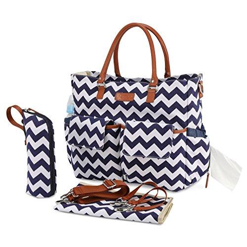 Kattee Multifunktionale Wickeltasche mit Wickelunterlage, wasserdichte Baby Windeltasche Mama Umhängetasche Handtasche für Flaschen, Windeln, Babykleidung (Blau-Weiß-Streifen)