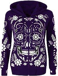 e93937e2e1a4e Women Plus Size Long Sleeve T Shirt Skull Print Zipper Hooded Blouse  Pullover Tops Sweatshirts Jacket