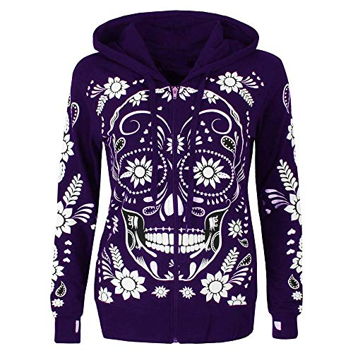 HigllesSweat à Capuche Femme, Kangourou Hoodie Imprime Tête de Mort Papillon Sweat Shirt Hiver De noël