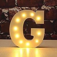 Decorative Light Up lettere,KINGCOO Batteria Luci LED Alfabeto in Legno Lettera Segni,Decorazioni per Festa di Nozze,Bianco Caldo (G)