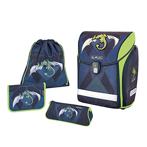 Herlitz Schulranzen Midi Plus Set, 38 cm, Green Robo Dragon