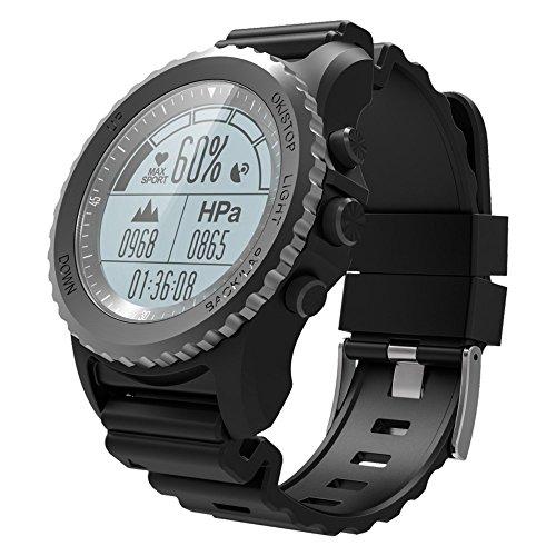 Lixada Männer Frauen Smart Sport GPS Uhr/Wasserdichte Abenteurer Uhr mit Pulsmesser/Kompass/Höhenmesser/Barometer/Thermometer, Wasserdichtes Niveau: IP68. (Gps-höhenmesser-barometer-uhr)
