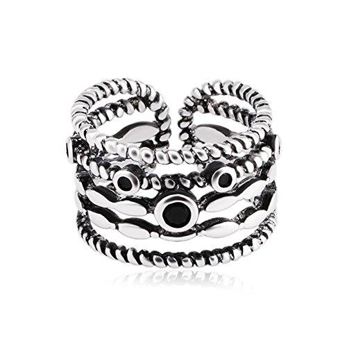 Cdet Damen Ring Retro Thai Silber Verdrehende Form Zeigefinger Offener Ring Mode-Accessoires Geburtstag Valentinstag Ringe