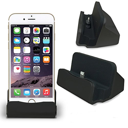 CABLESETC Charge Sync Stand Lightning USB Desktop Dock Cradle Apple iPhone 7 Plus 7 6S 6 Plus SE 5S 5 iPad Mini Air (Black)