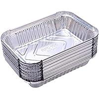 Yardwe 10 Piezas Bandejas de Goteo de la Parrilla de bandejas de Aluminio Desechables de Parrilla al Aire Libre para bandejas de Goteo de Grasa BBQ de Weber Grill (570 ml)