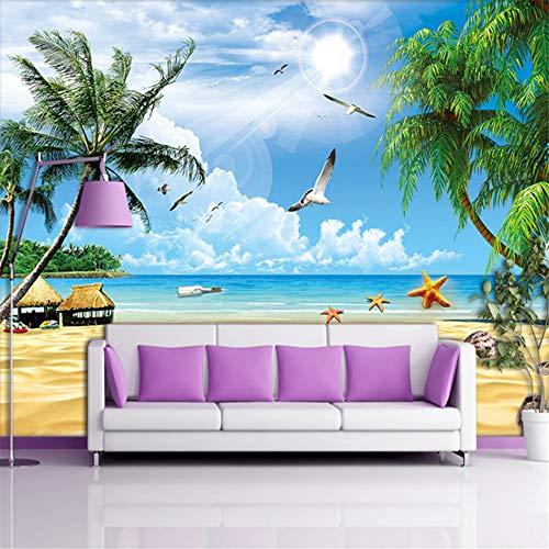 Hwhz Benutzerdefinierte Wandbild-Tapete 3D Für Wand-Feiertags-Strand-Meerblick-Baum-Foto-Nichtgewebte Wand-Abdeckung Für Wohnzimmer Fernsehsch-200X140Cm