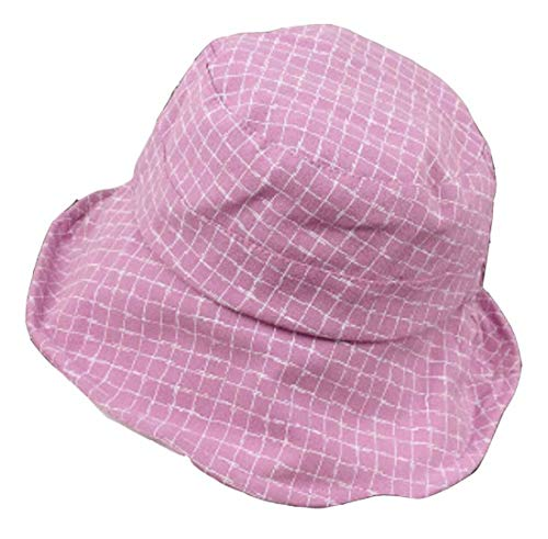 QQBL Fisherman Hats Students Soft Sister Dome Plaid Sun Hat Sunscreen Outdoor Basin Cover, Pink