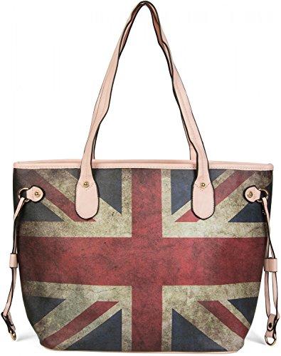 styleBREAKER Union Jack Schultertasche im Großbritannien Vintage Design, Henkeltasche, Handtasche, Damen 02012018, Farbe:Rosa (Damen Handtasche Jack Union)